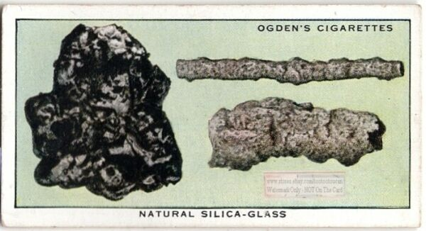 Natural Silica Turned To Glass By Lightening Meteorite Heat 80 Y O Trade Ad Card $8.70