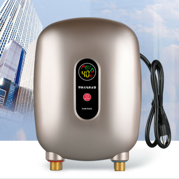 3kW Mini Instant Thermostat Electric Hot Water Heater Tankless Kitchen 68 126°F $61.01