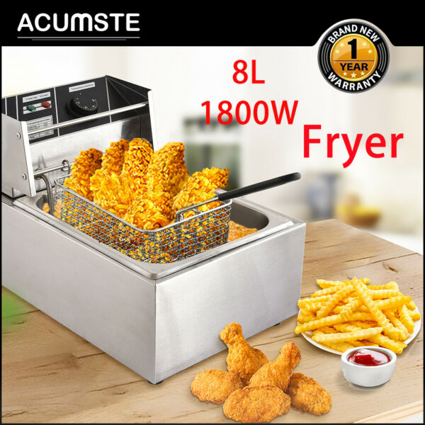 8L Electric Tank Fryer Stainless Steel Fry Basket Commercial Tabletop 1800W US $65.99