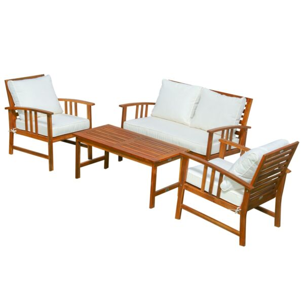4 Piece Outdoor Patio Furniture Sofa Set Wood Coffee Table and Chair Clearance $429.44