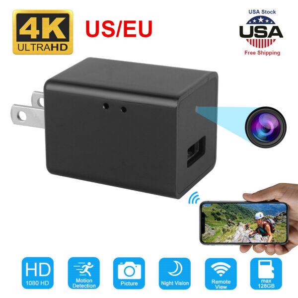 1080P Surveillance USB Wall Charger Plug adapter Wifi Camera Video Recorder Cam $26.77