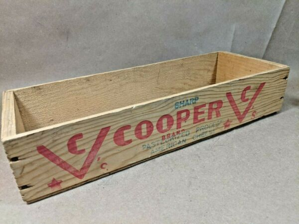 Old Wood Cooper CHEESE Box CrateVintage Pope Sons Phila Rustic Decoration Faded