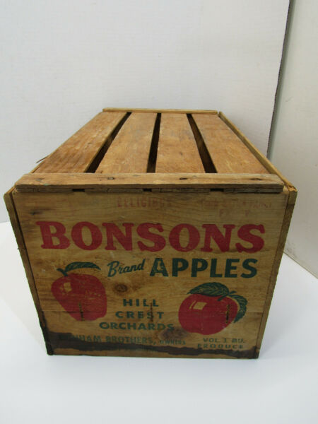 OLD WOOD BENSONS HILL CREST ORCHARDS APPLE FRUIT PRODUCE CRATE BOX ADVERTISING