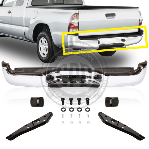 Rear Steel Chrome Step Bumper Assembly Fit 2005 2014 Toyota Tacoma TO1103113 $225.54