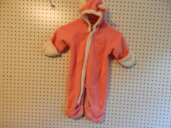 Infant Girl Columbia Bunting pink and white 12 months