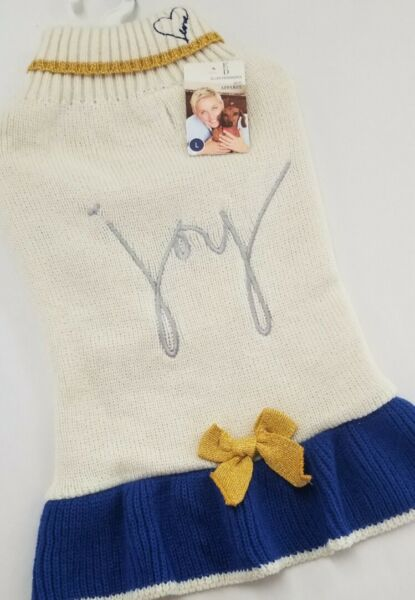 Ellen DeGeneres Dog large Sweater Up To 18quot; w :Joyquot; New w tag $12.50