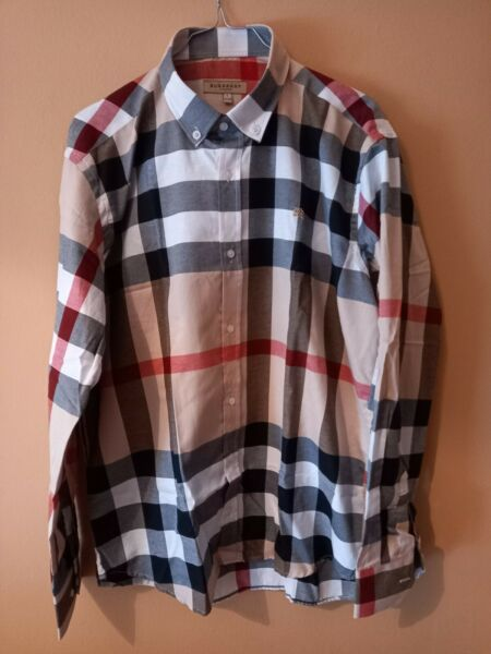 NEW Burberry Men#x27;s Shirt Plaid ALL OVER Nova Check Long Sleeved Buttons BEIGE L $49.00
