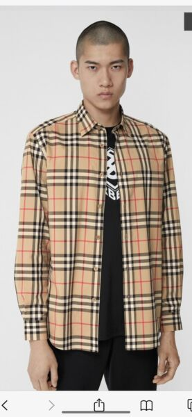 Burberry Men's Vintage Check Cotton Camel Shirt Slim Fit • Size XLarge $165.00
