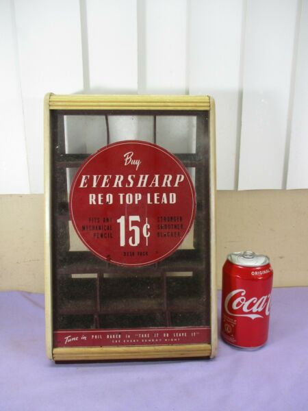 Vintage Eversharp Pencil Lead Dime Store Glass Case Store Display CBS Radio 1940