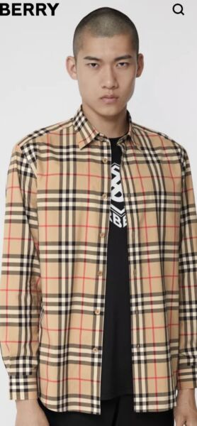 Burberry Men's Vintage Check Cotton Camel Shirt Slim Fit • Size Large $165.00