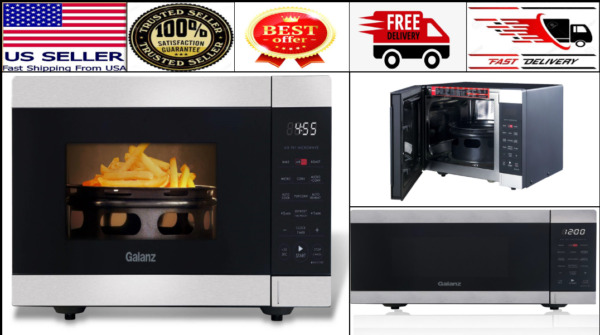 Galanz 3 in 1 Counter top Air Fryer Convection Microwave Oven 0.9 Cu.Ft Black