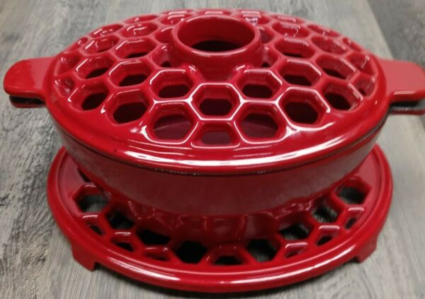 Cast Iron Red Enameled 1.5 Quart Wood Stove Steamer With Trivet $54.99
