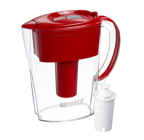Brita Space Saver Water Filter Pitcher 6 Cup Red