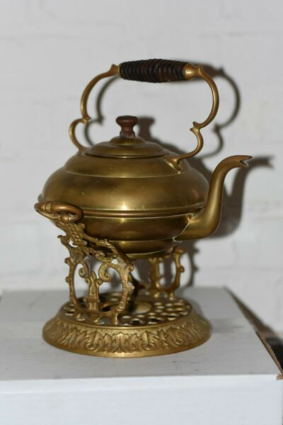 Antique Brass Tea Pot Kettle with Wood Handle and Knob Ornate Trivet Creamer NY $50.00