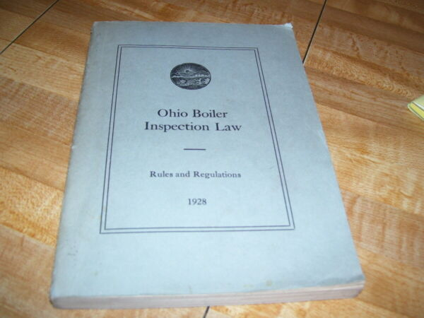 Antique 1928 Ohio Steam Boiler for Steam Engines Inspection Book $2.99