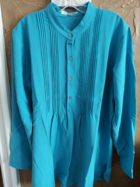 Travelsmith Mandarin Collar Long Top Blouse Size XL Blue