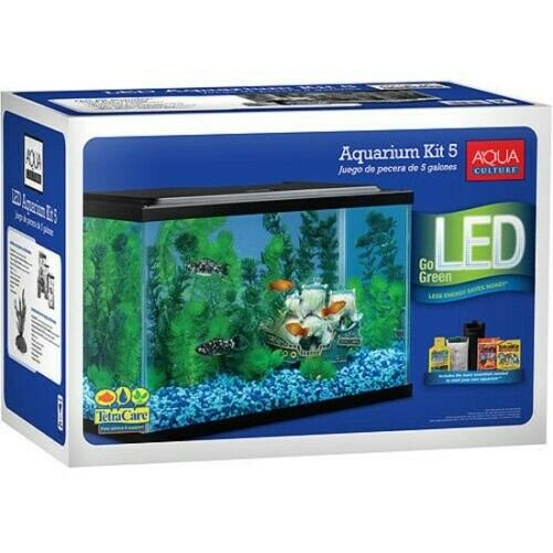5 Gallon Fish Tank LED Aquarium Starter Kit For Freshwater Fish Aqua Culture ne $48.50