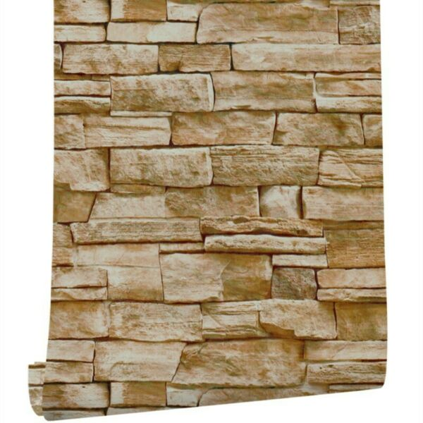 3D Stone Self Adhesive Peal Stick Wallpaper PVC For Fireplace x 6m