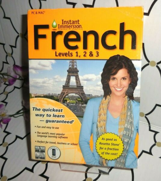 TOPICS INSTANT IMMERSION FRENCH LEVELS 1 2 amp; 3 PC amp; MAC NEW $7.88