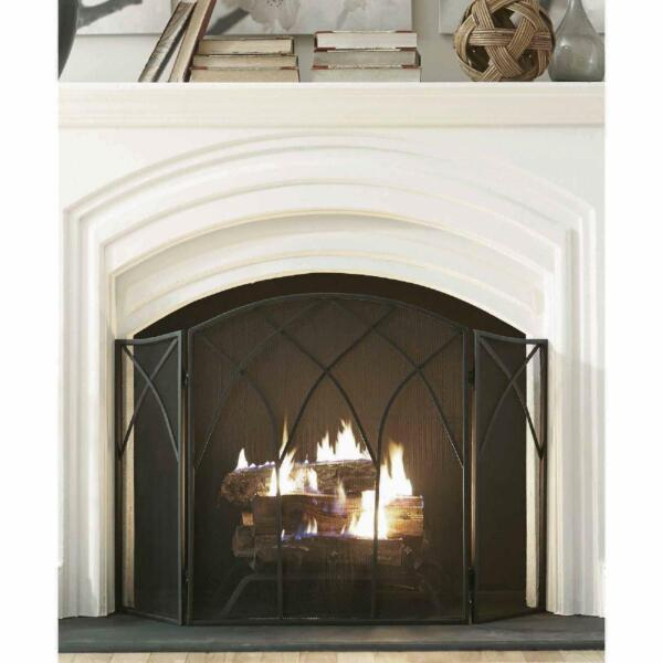 3 Panel Steel Fireplace Screen Gothic Style Fire Protection with Handles Elegant