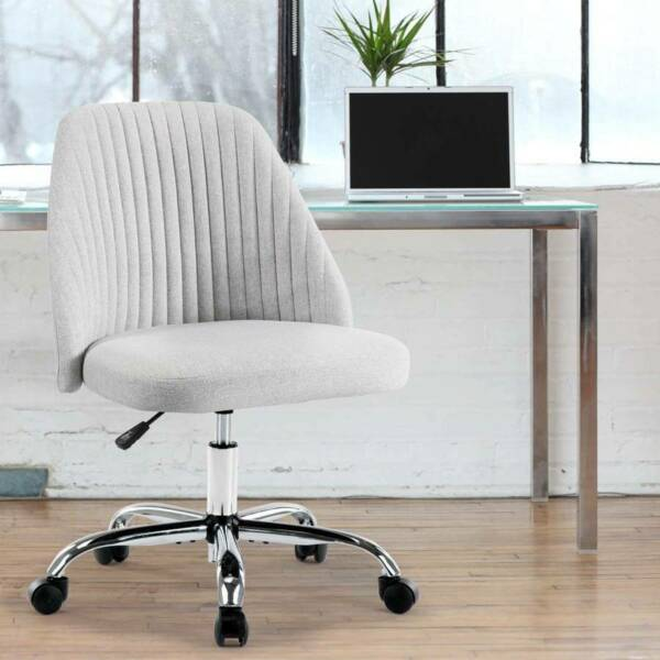 Mid Back Twill Swivel Home Desk Office Chair with Adjustable Height Armless