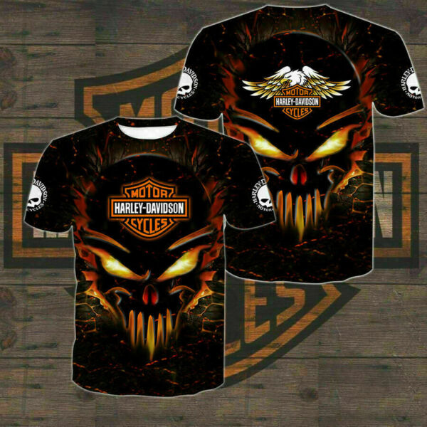 Limited Edition Harley Davidson Men#x27;s All Over Full 3D Black T Shirt S 5XL $23.20