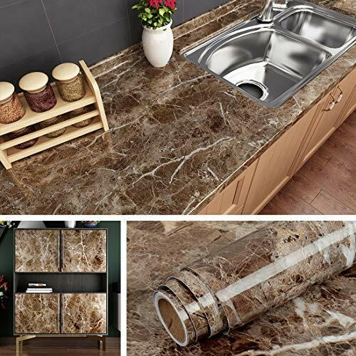 Livelynine Counter top Covers Peel and Stick 15.8x78.8 Inch Coffee marble