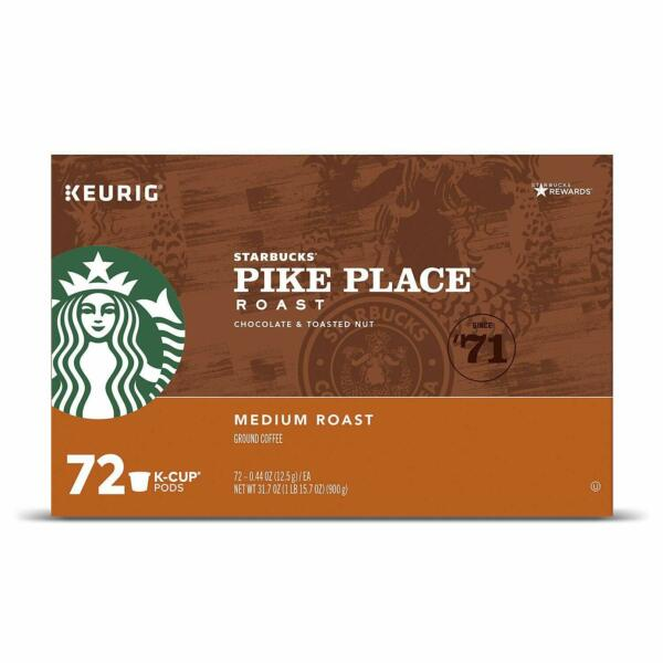 Starbucks Pike Place Keurig K Cup Brewers Single Capsules 72 Count {AB condit