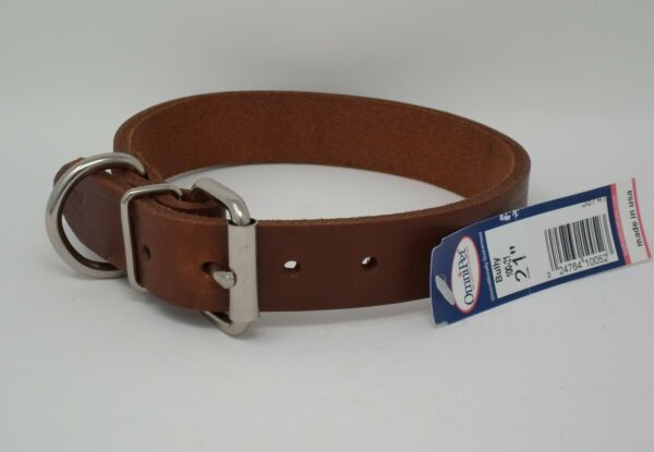 #100L 21quot; LEATHER DOG COLLAR FREE BRASS NAMEPLATE $9.00