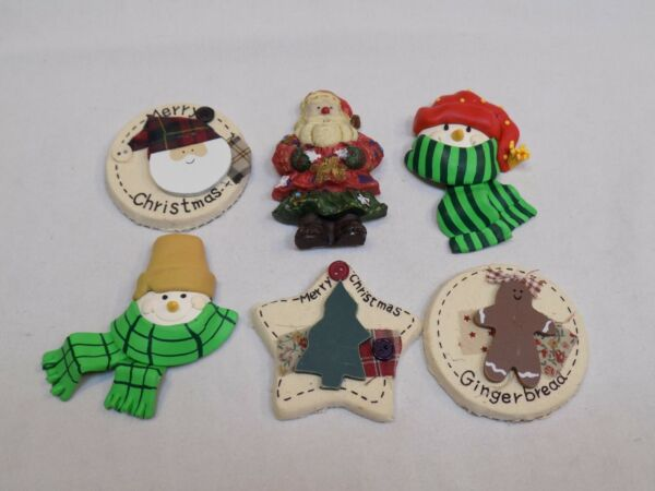 Christmas Holiday Magnets Lot 6 Set Snowman Santa Claus Gingerbread Country Star $16.99