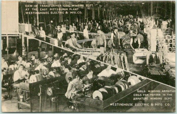 Pittsburgh PA Postcard WESTINGHOUSE ELECTRIC quot;Girls Winding Armature Coilsquot; $7.50