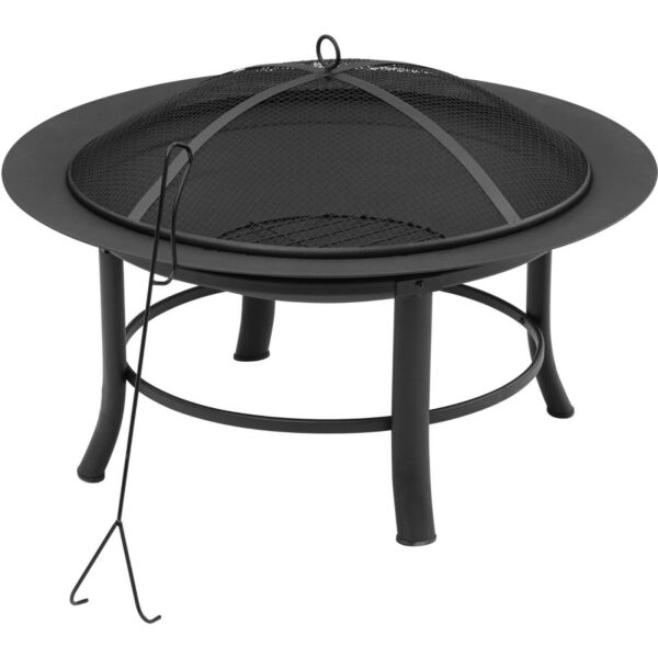 28quot; Round Outdoor Wood Burning Fire Pit Backyard Patio Black W Mesh Spark Guard $41.89
