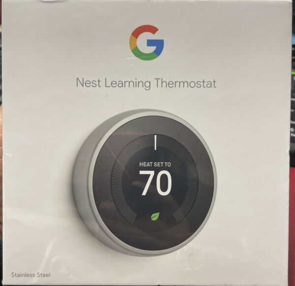 NEW NEST LEARNING THERMOSTAT T3007ES STAINLESS STEEL $185.00