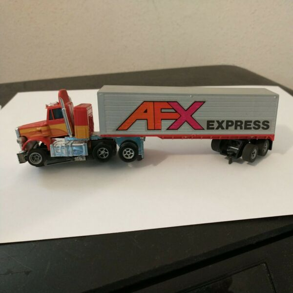 AURORA Peterbilt Semi Truck Red Yellow Orange. AFX Trailer HO SLOT CAR