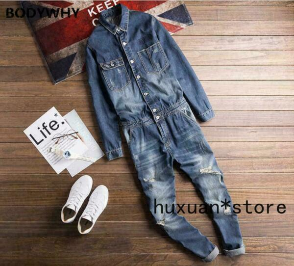 Mens Denim Jeans Overalls Boiler Suit Coveralls Jumpsuit Dungarees One Piece $75.85