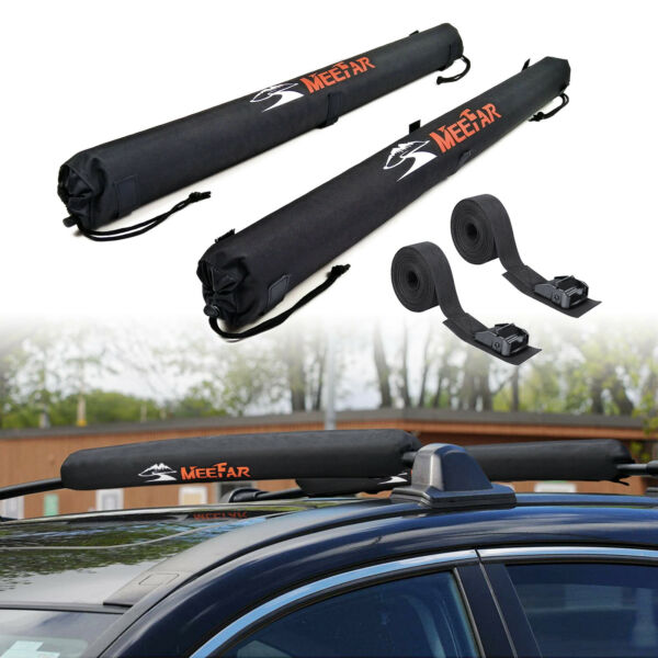 Car Roof Rack Cross bar Soft Pads With Tie Down Straps for Kayak Surfboard Canoe $37.90
