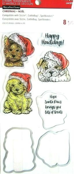 Christmas Dogs amp; Sayings Clear Stamp amp; Die Set Recollections 564206 NEW $8.49