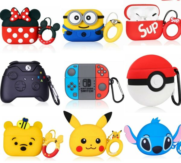 3D Cute Cartoon Airpods Silicone Case for Apple Airpod 1 2 amp; Pro Accessories
