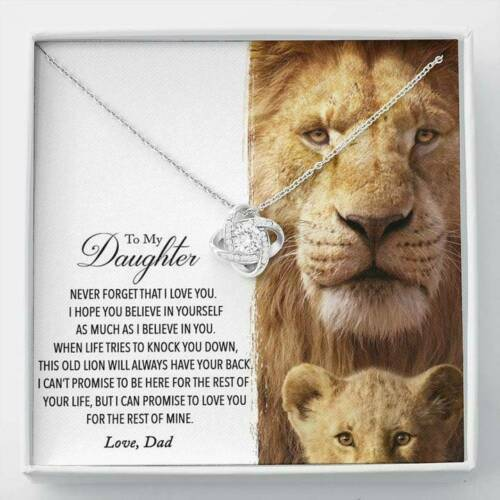To My Daughter From Dad Lion Jewelry Love Knot Necklace Gift For Women Girl $38.99