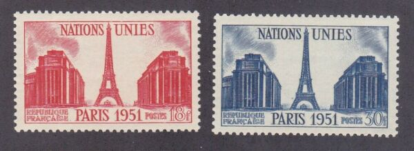 France 671 72 MNH 1951 Chaillot Palace and Eiffel Tower Set VF