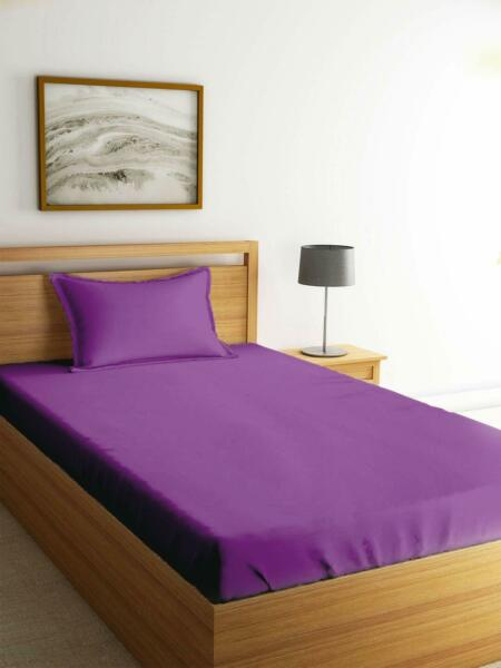 Purple Bed Sheet 100% Cotton Flat Sheet Pillowcase Cover For Home Dressing $25.99