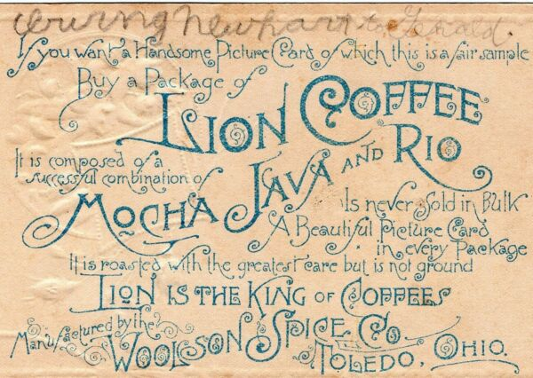 Victorian Lion Coffee Trade Card Woolson Spice Co. Christmas Antique Girl @