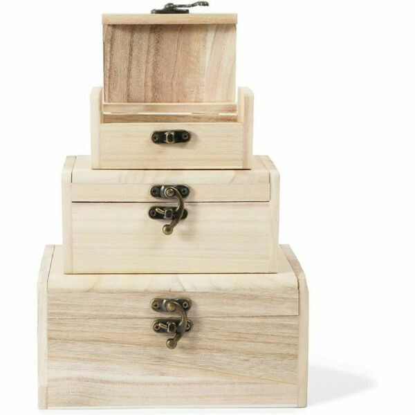 Unfinished Wood Box Set with Lid Wooden Jewelry Organizers 3 Sizes 3 Pack