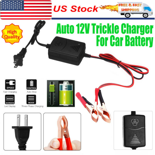 Portable 12V Auto Car Battery Charger Tender Trickle Maintainer Boat Motorcycle $7.99