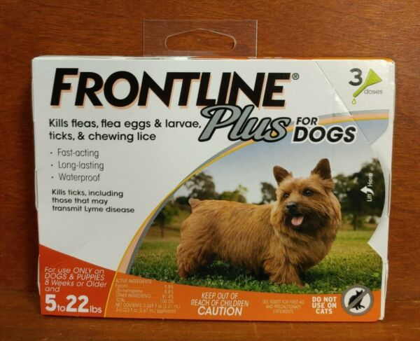 FF37 Frontline Plus Flea and Tick Control for 5 22 Pound Dogs 3 pack New $21.99