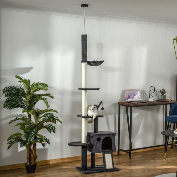 Multilevel Cat Activity Center Floor to Ceiling with Kitty Hammock and Toys $69.99