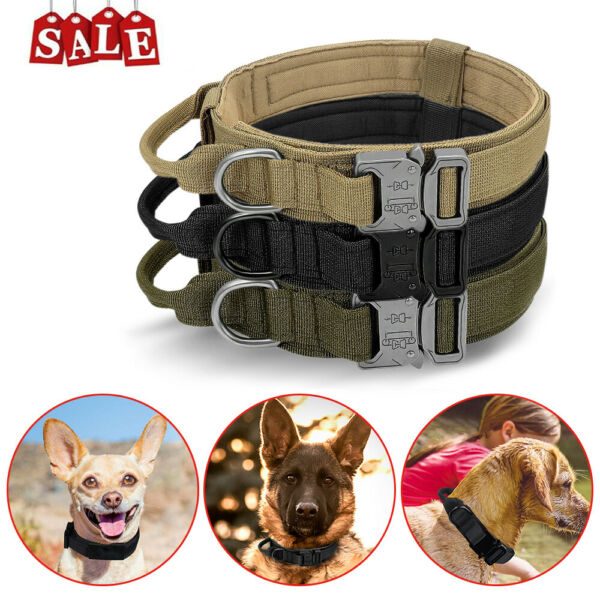 Nylon Adjustable Tactical heavy duty large Dog Collar K9 with Metal Buckle US $12.69