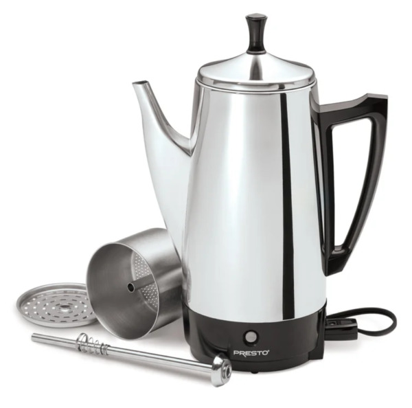 Coffee Percolator 12 Cup Stainless Steel Electric Maker Pot Vintage Portable