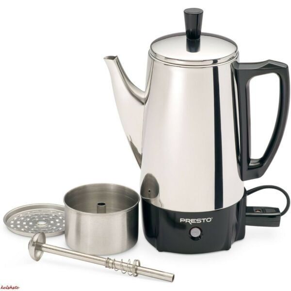6 Cup Coffee Percolator Coffee Maker Pot Stainless Steel Electric Portable