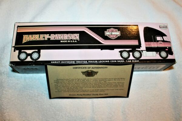 Harley Davidson Tractor Trailer Locking Coin Bank 1:64 Scale New in Box $23.99